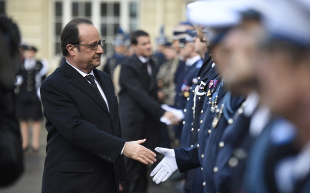 President Francois Hollande commemorates the attacks on Charlie Hebdo and a Jewish supermarket.