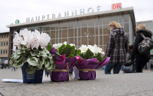 Flowers have been placed outside Cologne station, where the attacks happened.