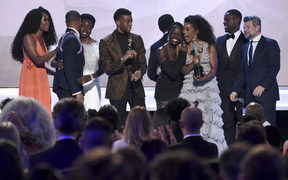 "The cast of ""Black Panther"" accepts the award for outstanding performance by a cast  at the 25th annual Screen Actors Guild Awards on Sunday, Jan. 27, 2019, in Los Angeles."