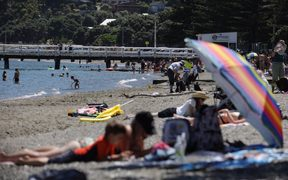 Beach goers in Wellington taking advantage of the hot weather.