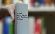 "A copy of an annotated version of Adolf Hitler's book ""Mein Kampf""."