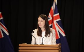Prime Minister Jacinda Ardern at the post-cabinet press conference.