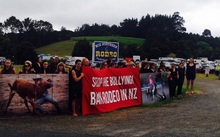 Protesters gather outside Whangarei Rodeo.