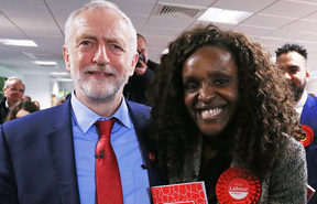 Leader of the Labour party Jeremy Corbyn poses for a photograph with Labour's Parliamentary Candidate for Peterborough, Fiona Onasanya (R) after making a speech, at Peterborough Football Club in Peterborough, central England on May 19, 2017.