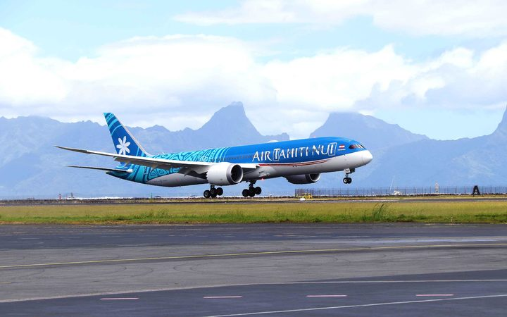 Air Tahiti Nui's new jet, a Boeing Dreamliner, in Tahiti
