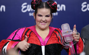 Winner singer Netta of Israel poses with the Trophy after winning the 2018 Eurovision Song Contest Grand Final.