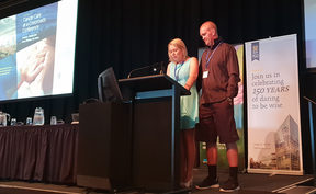 Melissa Vining fought back sobs as she told 400 cancer specialists in Wellington what her family has been through after her husband's terminal bowel cancer diagnosis.