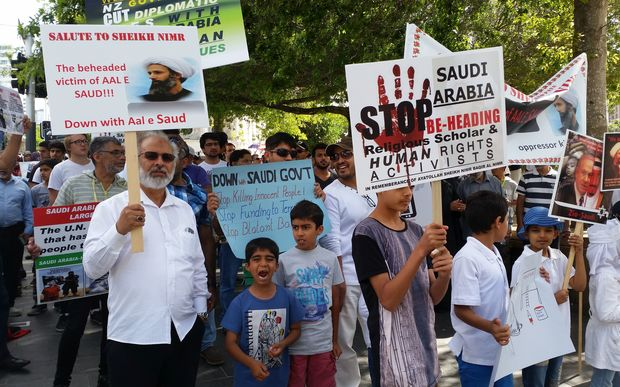 Members of Auckland's Shia Muslim community held a rally to protest the execution of a popular cleric by Saudi Arabia