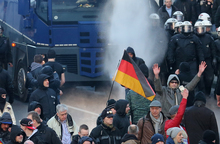 Police using water cannon at a rally of the far-right anti-immigrant Pegida movement in Cologne.