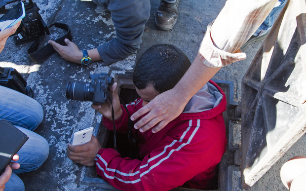 "A journalist enters a manhole of the sewer system through which drug kingpin Joaquin ""El Chapo"" Guzman tried to escape."