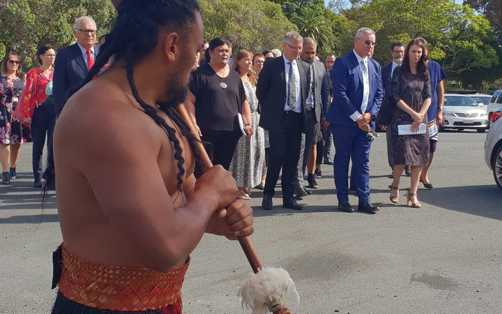 Prime Minister Jacinda Ardern and her delegation arrive at the Treaty Grounds.