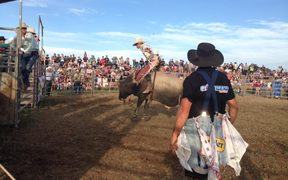 A cowboy in action at Martinborough's Pukemanu Bull Ride.