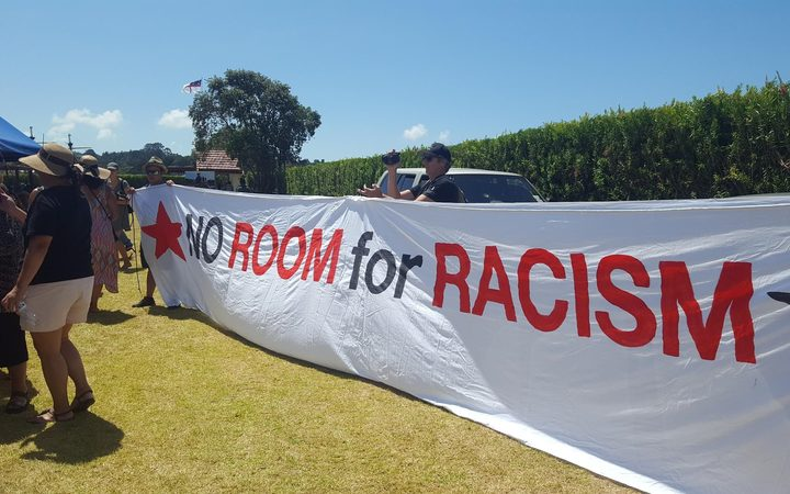 There were pockets of protest as Don Brash delivered his speech at Waitangi.