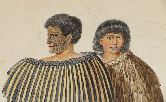 Potrait of Hōne Heke and his wife Hariata Rongo by artist Joseph Merrett (from a private collection).