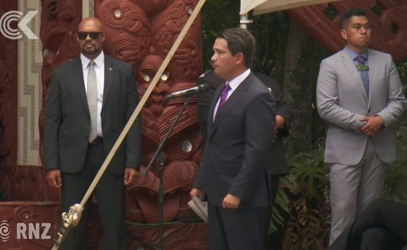 Simon Bridges speaks at Waitangi