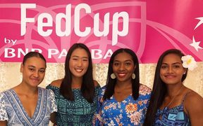 The Pacific Oceania team at the Fed Cup dinner in Astana, Kazakhstan.