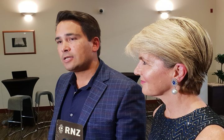 National leader Simon Bridges with Australia's former foreign minister Julie Bishop at the party's caucus retreat in Hamilton.