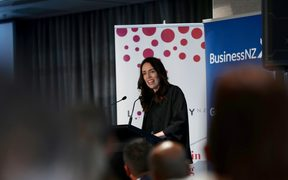 Prime Minister Jacinda Ardern has delivered her address to a business audience at a central city hotel in Auckland.