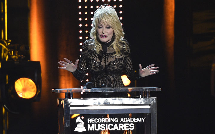 Dolly Parton accepts her award at MusiCares Person of the Year on Friday, Feb. 8, 2019, at the Los Angeles Convention Center.