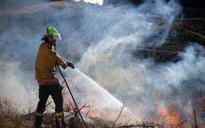 New Zealand Defence Force firefighters combat the Richmond fire near Nelson.