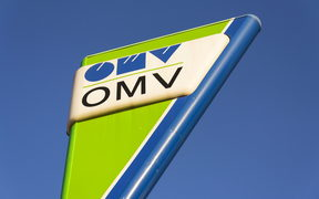 OMV international oil and gas company logo on fuel station on December 16, 2016 in Prague, Czech republic.