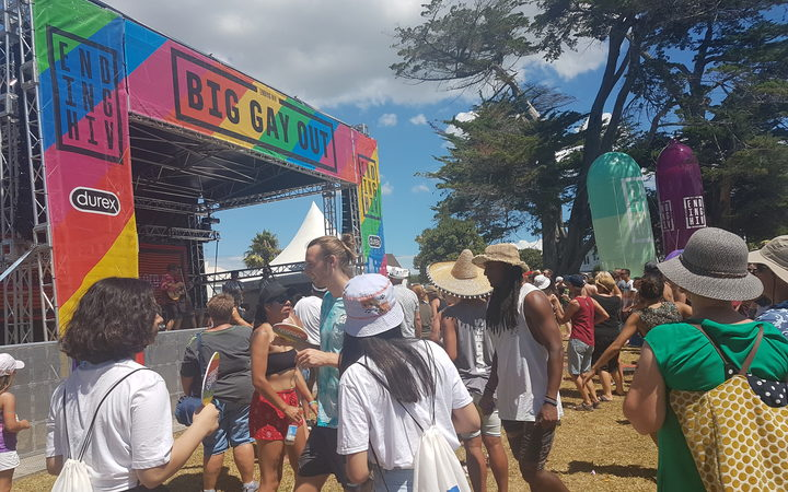 Festival-goers enjoying music from the main stage at the Big Gay Out.