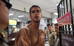 Hakeem al-Araibi, a Bahraini refugee and Australian resident, is escorted to a courtroom in Bangkok.