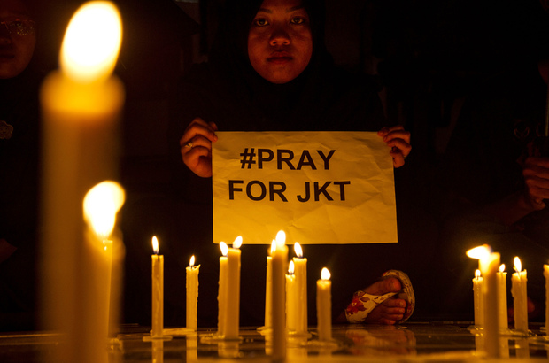 A candlelit protest was held in Surabaya, Eastern Java island to condemn the Jakarta attacks.