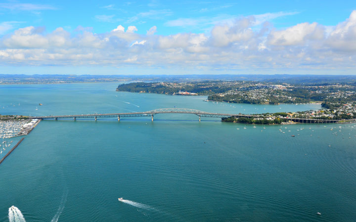 Aerial view of Auckland harbour bridge. It is the second-longest road bridge in New Zealand, and the longest in the North Island.