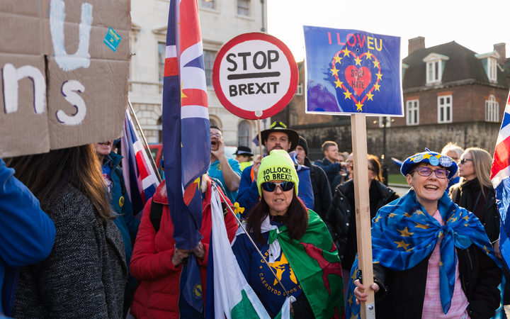 Anti-Brexit supporters protest outside the Houses of Parliament in London as they call on MPs to get Article 50 revoked and demand a People's Vote on EU membership on 14 February, 2019.