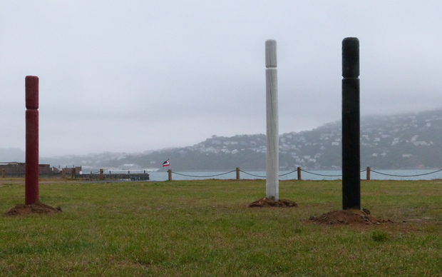 Protesters erected pouwhenua on the land to represent their disapproval of the Shelley Bay land being sold to developers.