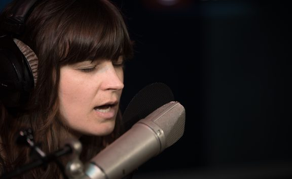 Lydia Cole in the RNZ studios for a live session. 15 February 2019.