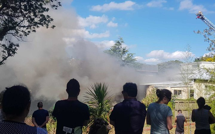 Firefighters are battling a blaze at a house in Auckland's Kingsland.
