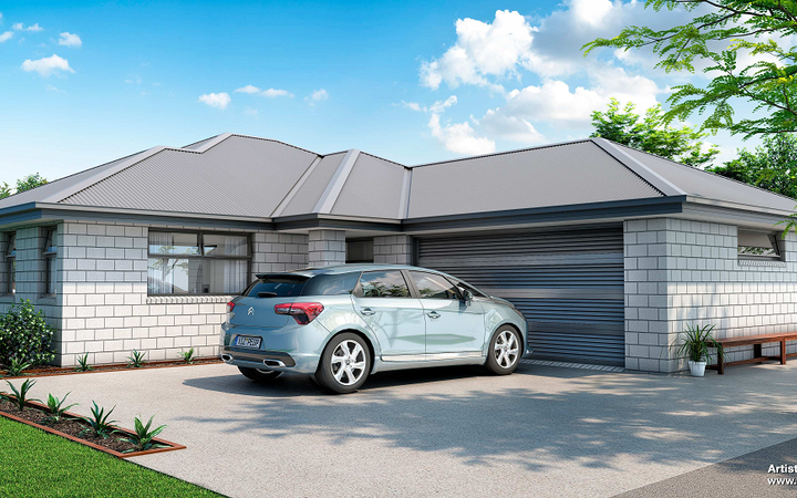 Artist's impression of KiwiBuild home to be built in Rangiora. KiwiBuild is teaming up with developer Mike Greer Homes to construct more than 110 homes in West Auckland and Christchurch.