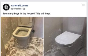 "NZ Herald paying Facebook to share this ""toilet hack"" on the same day they announce a new paywall."