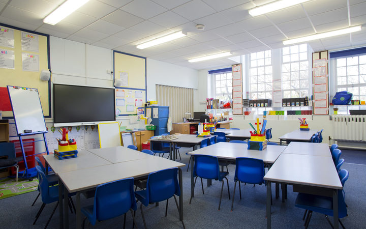 An empty primary school classroom.