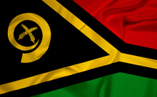 A close-up of Vanuatu's flag