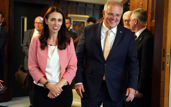 Australian Prime Minister Scott Morrison meeting with Prime Minister Jacinda Ardern at Government House in Auckland.