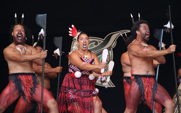 Nga Tumanako performing on the morning of day 3 of Te Matatini, the national kapa haka festival.