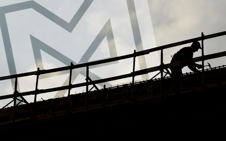 construction worker silhouette on a construction with coudy sky on background