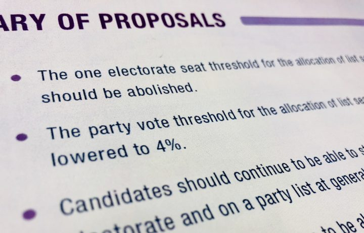 The Electoral Commission proposals paper recommended the party vote threshold be lowered to 4 percent.