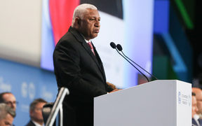 Frank Bainimarama, the prime minister of Fiji during the opening ceremony of COP 24, the 24th Conference of the Parties to the United Nations Framework Convention on Climate Change.