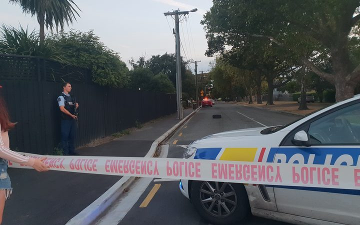 A police cordon in Richmond, Christchurch, where a man was shot on Tuesday evening.
