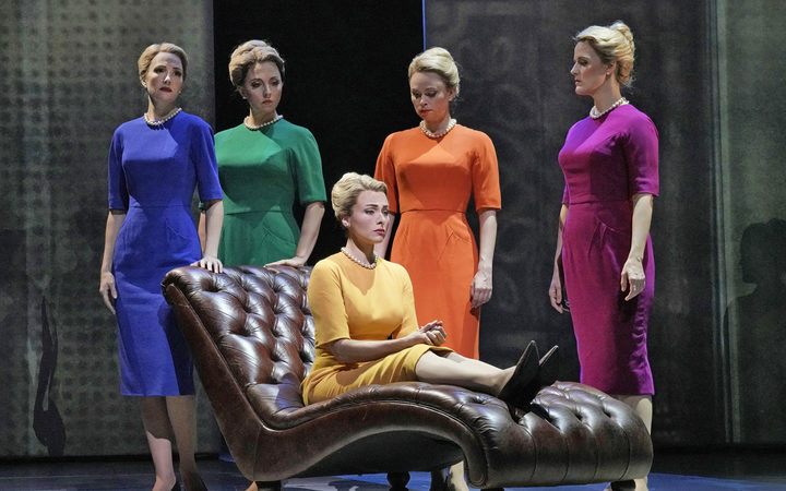 "Isabel Leonard (seated) in the title role of Nico Muhly's ""Marnie"" with (l. to r.) Dísella Lárusdóttir, Peabody Southwell, Deanna Breiwick, and Rebecca Ringle Kamarei as the Shadow Marnies."