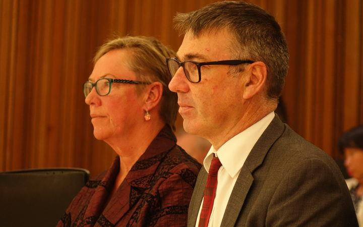 Duncan Webb and Ruth Dyson at the Christchurch City Council meeting.