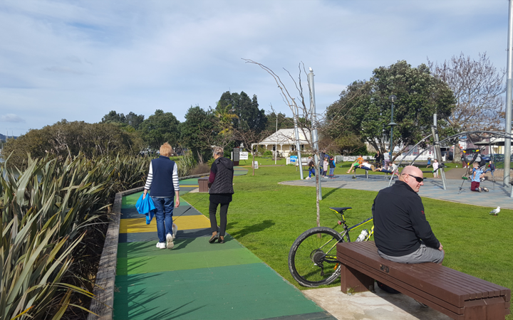 The Town Basin Playground in Whangarei is situated between a river on one side and a car park on the other.