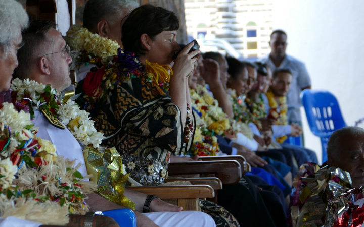 Annick Girardin drinks kava during her visit to Wallis and Futuna.