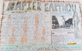 Sarah Robson's hand-drawn school project on the Napier Earthquake.