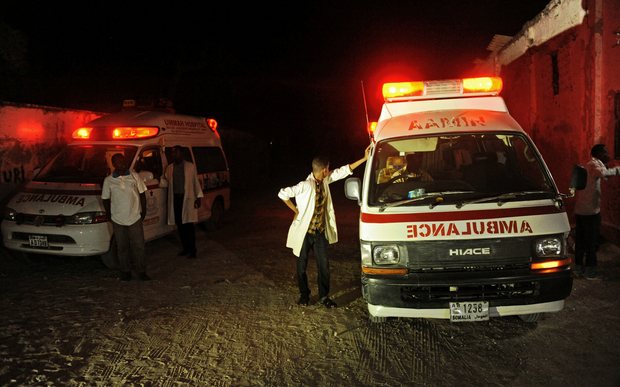 The beachfront restaurants in the Somali capital of Mogadishu have been hit by car bombs and attacked by gunmen.