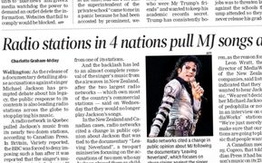 The Times of India reports New Zealand radio becoming Michael Jackson-free.